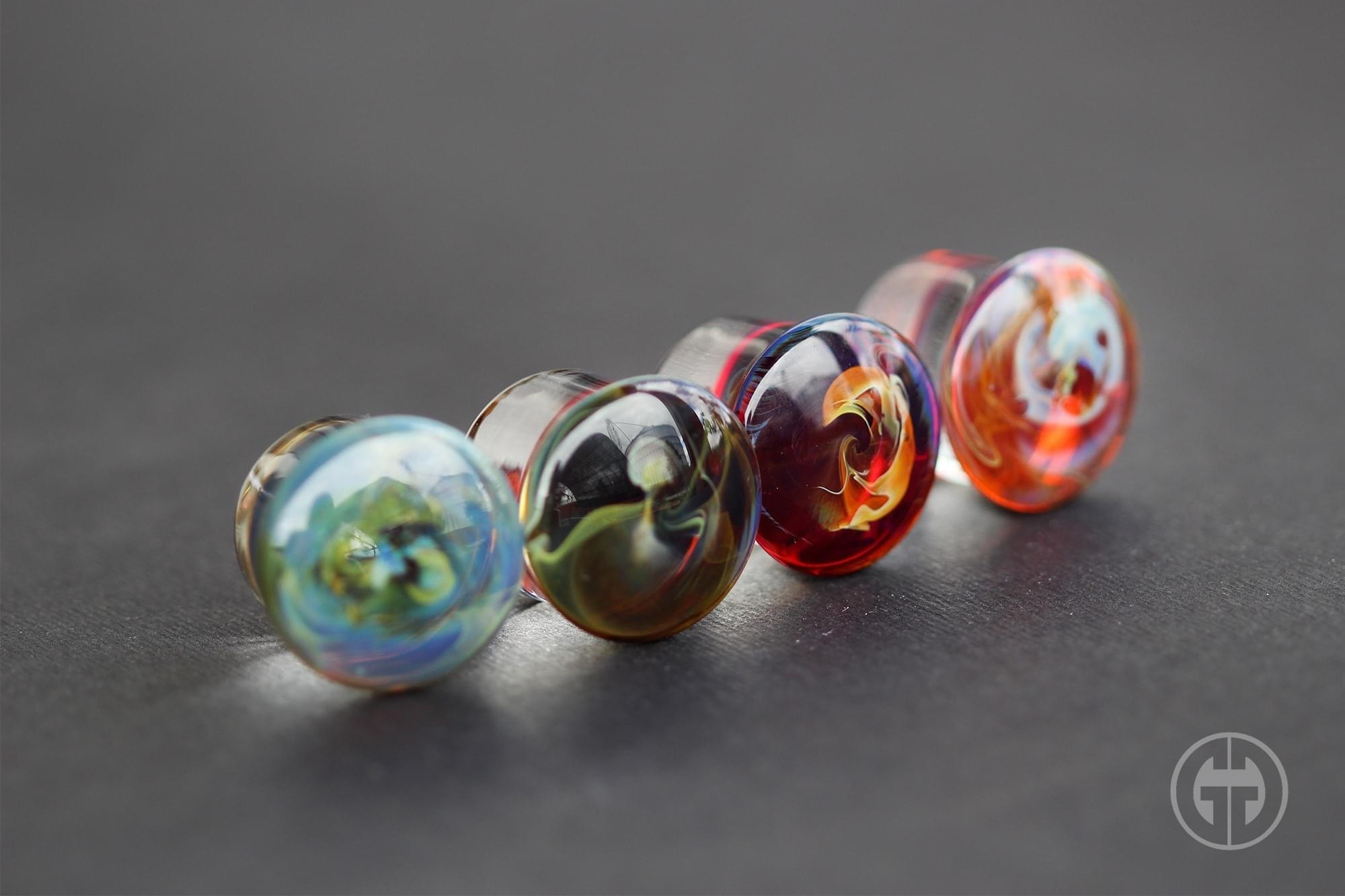 Pair of Agave Glass Single Flared Color Front Plugs